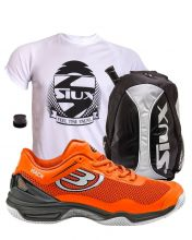 PACK BULLPADEL HACK KNIT ORANGE PADEL SHOES AND SIUX SILVER BACKPACK