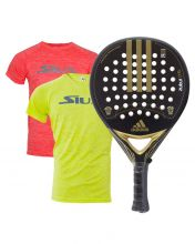 PACK ADIDAS ZUKUR CTRL CHROME GOLD PADEL RACKET AND SIUX SHIRTS