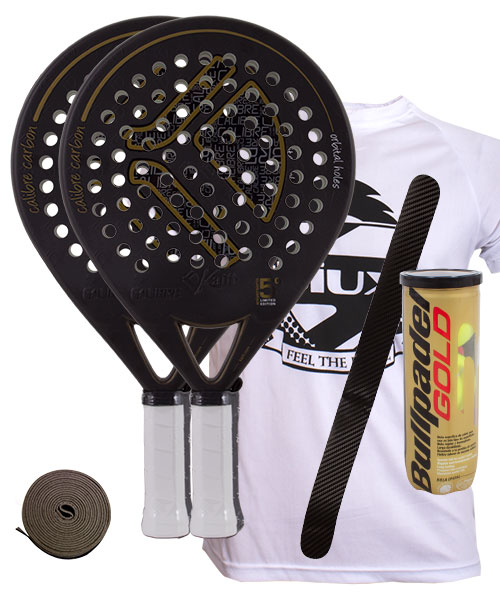 PACK 2 KAITT CALIBRE 2016 PADEL RACKETS AND BULLPADEL GOLD PADEL BALLS