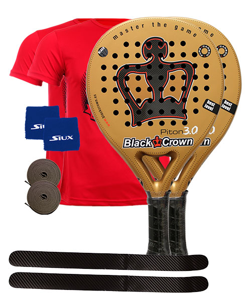 PACK 2 PADELSCHL�GER BLACK CROWN PITON 3.0 UND 2 SHIRTS SIUX