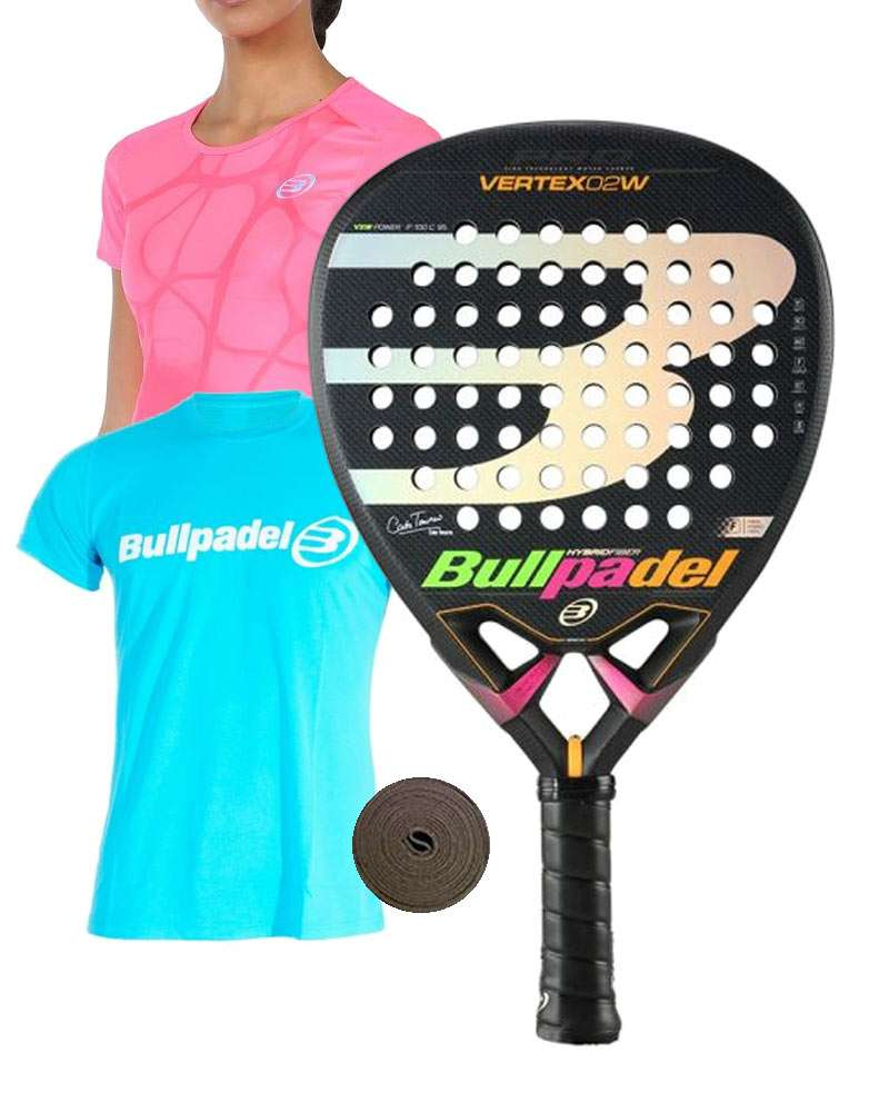 PACK BULLPADEL VERTEX 2 W Y CAMISETAS BULLPADEL