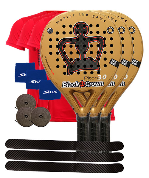 PACK 3 PALAS BLACK CROWN PITON 3.0 Y 3 CAMISETAS SIUX