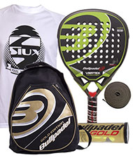 PACK BULLPADEL VERTEX Y MOCHILA ORO