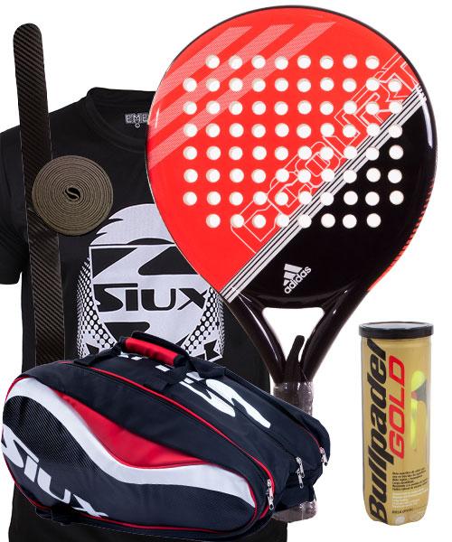 big sale 732f3 06d92 PACK ADIDAS FAST COURT RED AND SIUX SX SPARTAN RED PADEL RAC