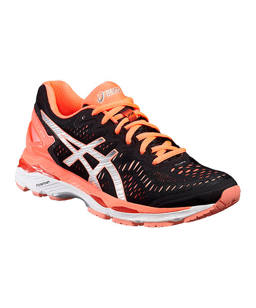 ASICS GEL KAYANO 23 WOMEN BLACK SALMON T696N 9093
