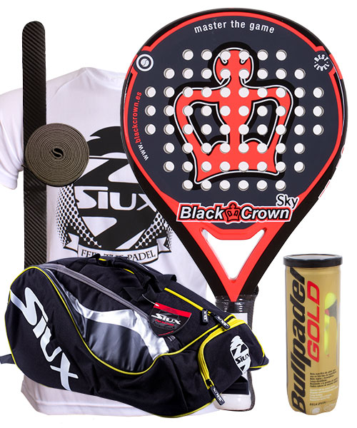 PACK BLACK CROWN SKY 2015 ET SAC DE PADEL SIUX MASTERCOMBI