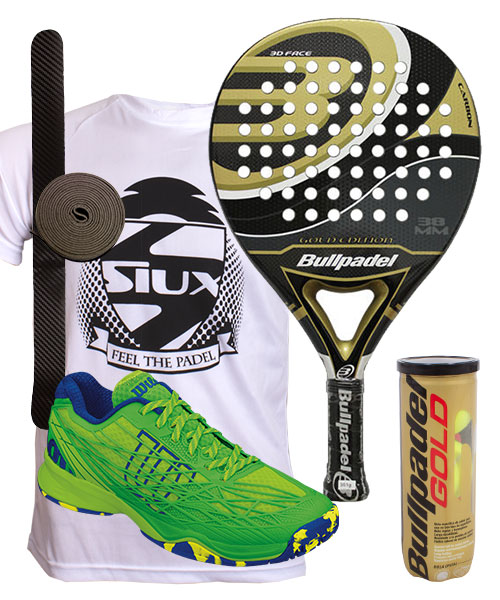 PACK BULLPADEL GOLD EDITION 2015 Y ZAPATILLAS WILSON KAOS CLAY COURT