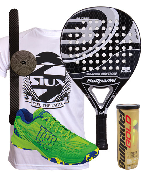 PACK BULLPADEL SILVER EDITION 2015 Y ZAPATILLAS WILSON KAOS CLAY COURT