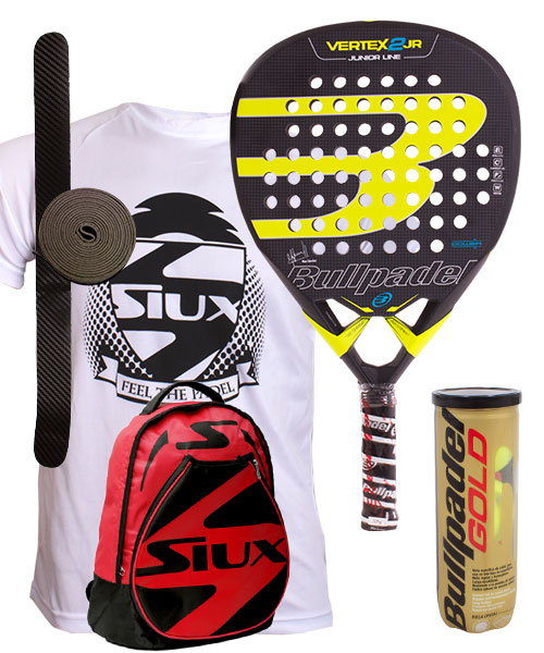 PACK BULLPADEL VERTEX 2 JUNIOR NIÑO Y MOCHILA SIUX ROJA