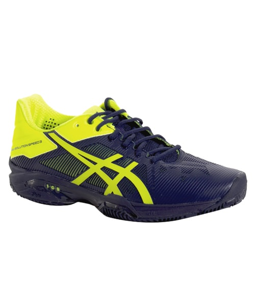42808e5f1 ASICS GEL SOLUTION SPEED 3 CLAY NAVY BLUE FLUORESCENT YELLOE E601N 4907