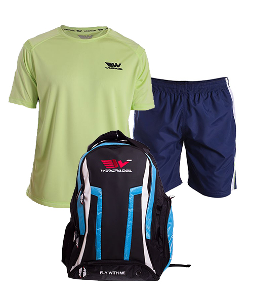 PACK WINGPADEL WOMBER BACKPACK, W-QUILEN NAVY BLUE SHORTS AND W-OWEN GREEN SHIRT