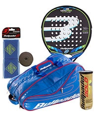 PACK BULLPADEL WING PRO 2016 AND PADEL RACKET BAG BULLPADEL AVANTLINE BLUE