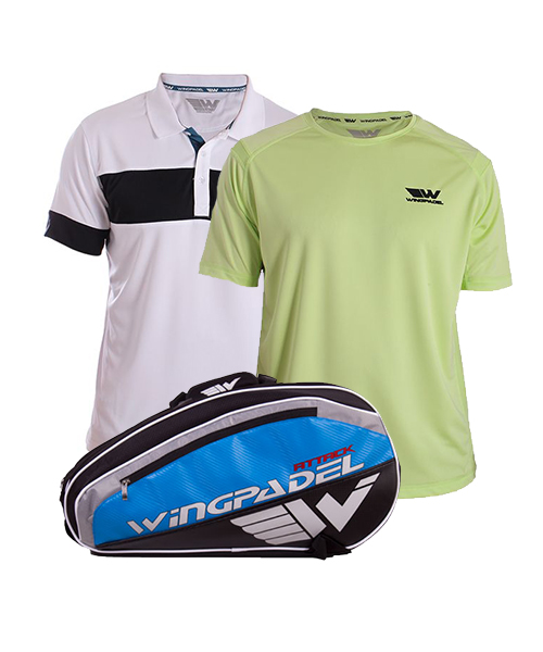 PACK WINGPADEL ATTACK PADEL RACKET BAG, W-THEO AND W-OWEN LIME GREEN SHIRTS