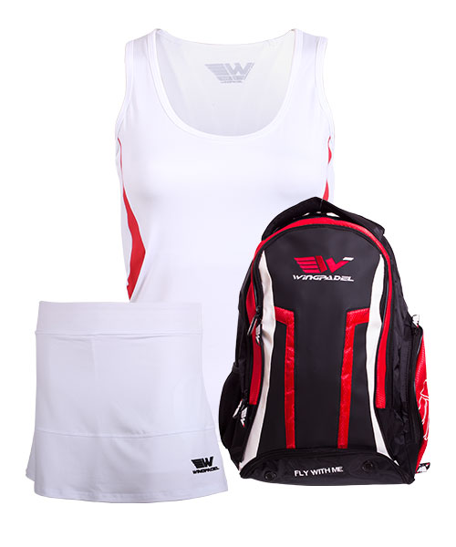 PACK WINGPADEL WOMBER BACKPACK, W-MIRTA SKIRT AND W-MAIRA SHIRT