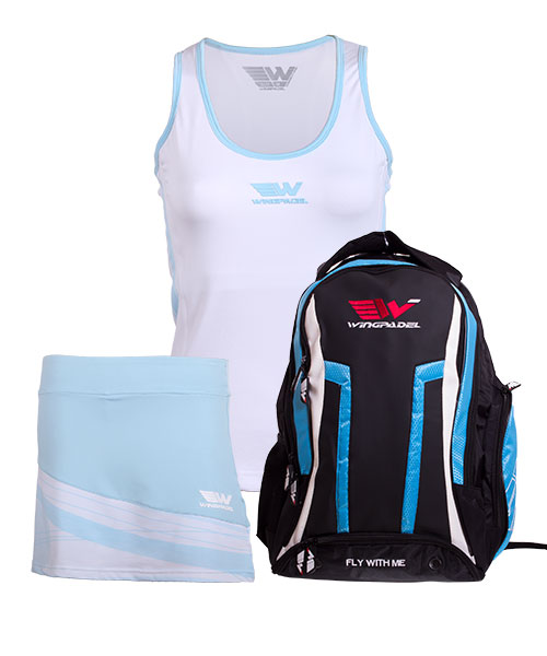 PACK WINGPADEL WOMBER BACKPACK, W-KEILA SKIRT AND W-LISA SHIRT
