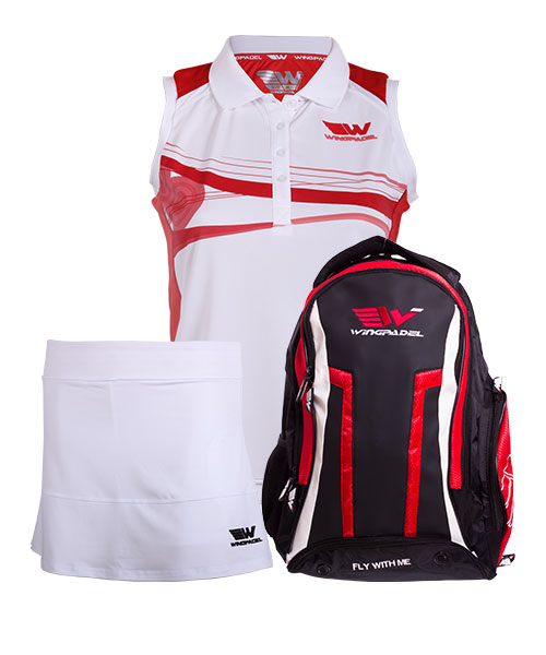 PACK WINGPADEL WOMBER BACKPACK AND W-MIRTA SHIRT AND SKIRT