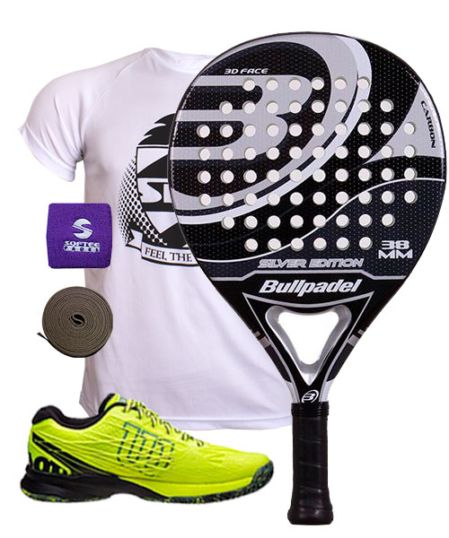 PACK BULLPADEL SILVER EDITION 2015 Y ZAPATILLAS WILSON KAOS SAFETY AMARILLO