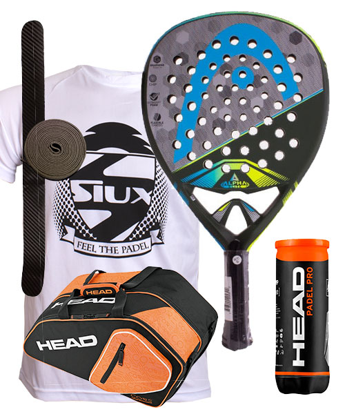 PACK HEAD GRAPHENE TOUCH ALPHA ELITE  Y PALETERO PADEL COMBI