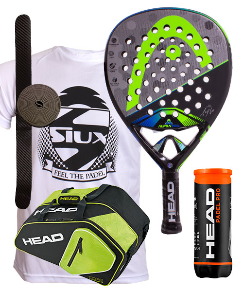 PACK HEAD GRAPHENE TOUCH ALPHA PRO 2017 Y PALETERO CORE PADEL COMBI