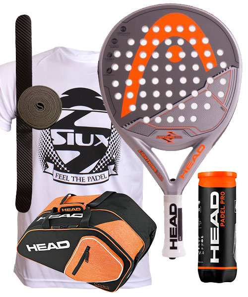 PACK HEAD LIGHTNING Y PALETERO CORE PADEL