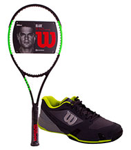 PACK WILSON BLADE 98 16x19 AND TENNIS SHOES WILSON RUSH PRO 2.5