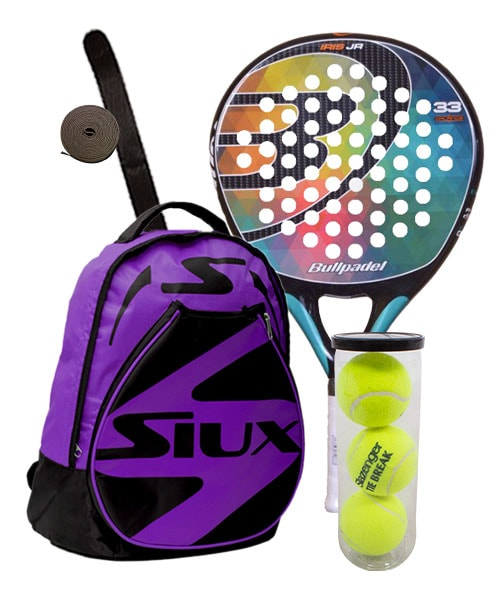PACK BULLPADEL IRIS JUNIOR 2016 AND SIUX PURPLE BACKPACK