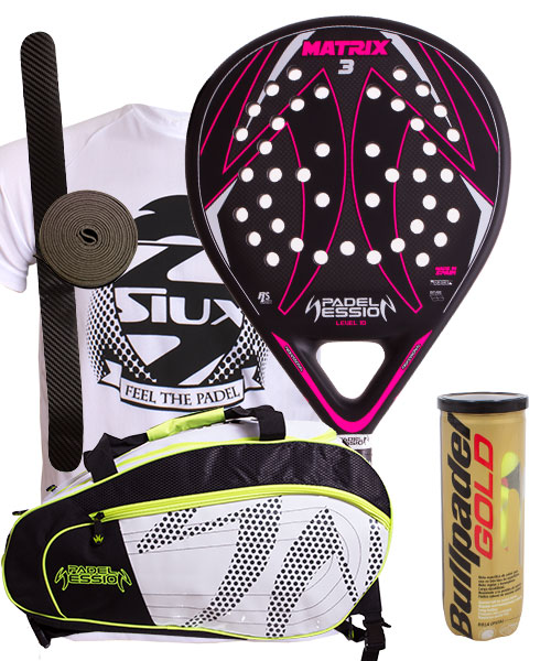 PACK PADEL SESSION MATRIX 3 FUCHSIA AND MATRIX 3 PADEL BAG