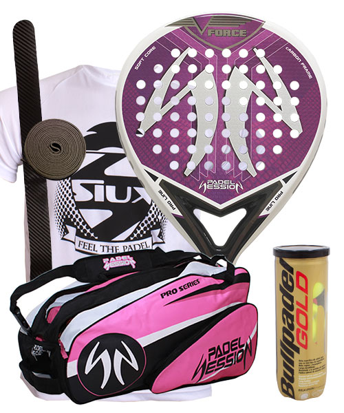 PACK PADEL SESSION V FORCE LADY AND PRO SERIES PADEL BAG