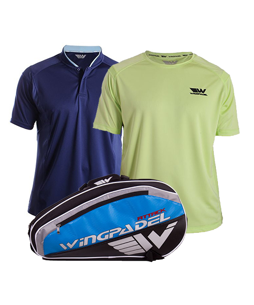 PACK WINGPADEL ATTACK PADEL RACKET BAG, W-IVO BLUE POLO SHIRT AND W-OWEN LIME GREEN SHIRT
