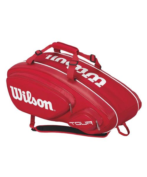 WILSON TOUR V 9 PACK RED AND WHITE RACKET BAG
