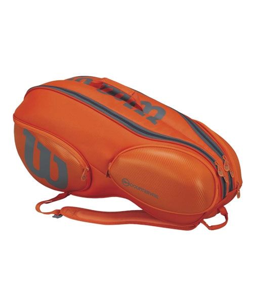 WILSON BURN 9 RACKETS ORANGE GREY RACKET BAG