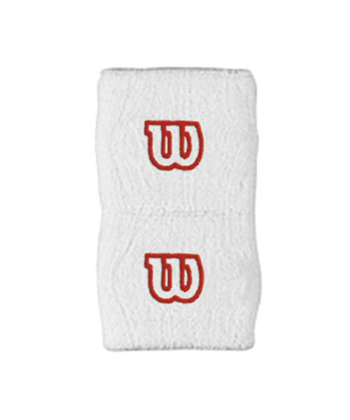 WILSON WHITE WRISTBAND WITH RED LOGO