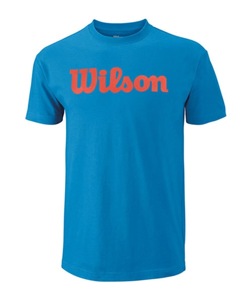 T-SHIRT WILSON SCRIPT COTTON TEE BLUE RED
