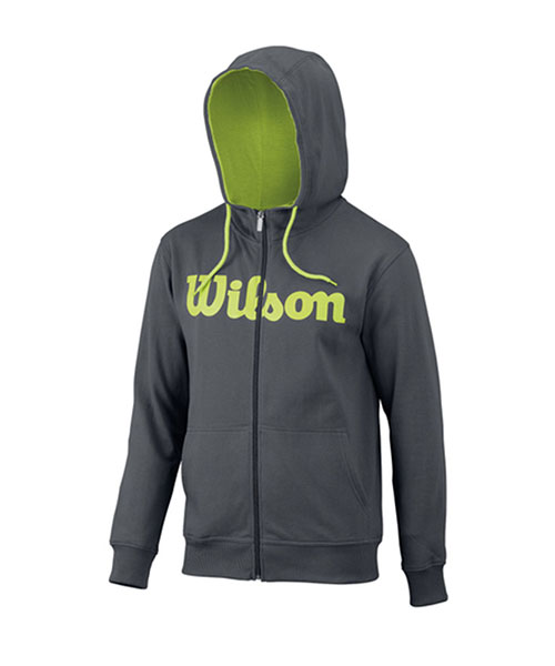 SWEATSHIRT WILSON SCRIPT COTTO PZ HOODY DARK GREY LIME