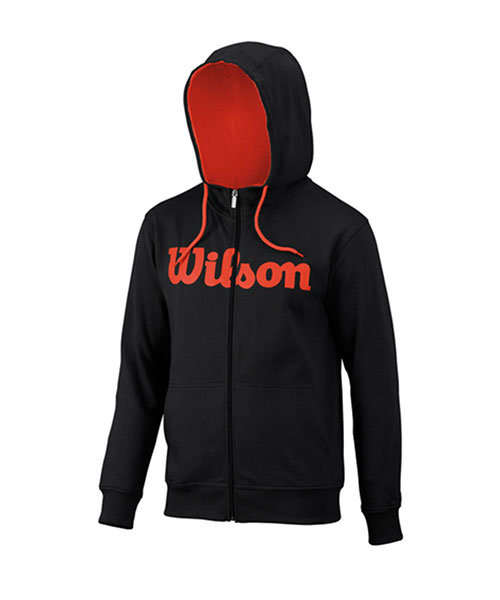 SWEATSHIRT WILSON SCRIPT COTTON FZ HOODY BLACK RED