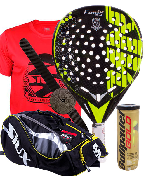 PACK AKKERON FENIX CARBON X7 FLUOR YELLOW AND SIUX MASTERCOMBI PADEL RACKET BAG