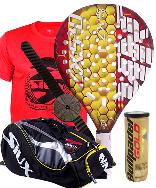 PACK AKKERON GOLD SPAIN AND SIUX MASTERCOMBI PADEL BAG