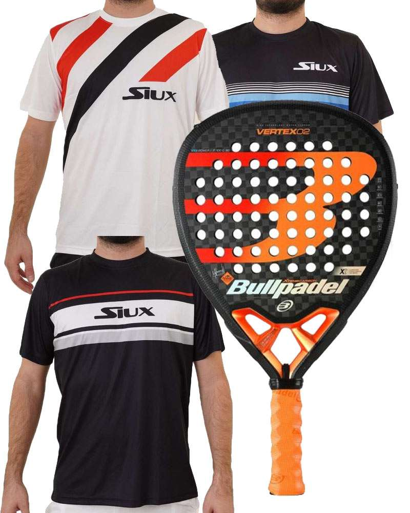 PACK BULLPADEL VERTEX 02 Y CAMISETAS SIUX