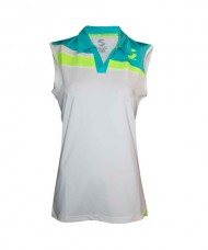 T-SHIRT SISA PADEL SOFTEE RISK WOMAN WHITE BLUE FLUORESCENT YELLOW