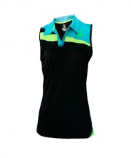T-SHIRT SISA PADEL SOFTEE RISK WOMAN BLACK BLUE FLOURESCENT YELLOW