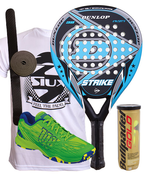 PACK DUNLOP STRIKE Y ZAPATILLAS WILSON KAOS CLAY COURT VERDE AZUL