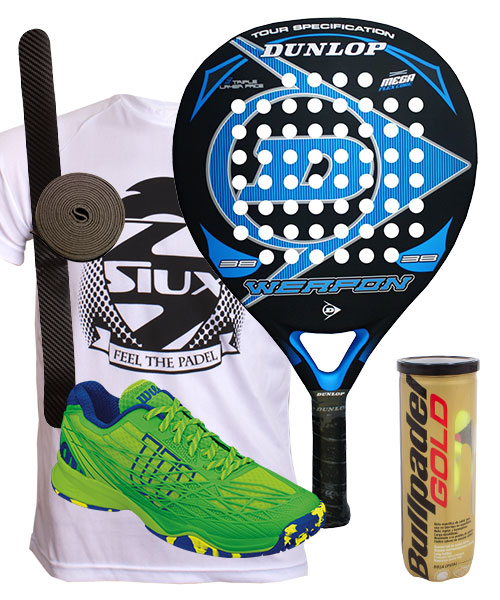 PACK DUNLOP WEAPON Y ZAPATILLAS WILSON KAOS CLAY COURT VERDE AZUL